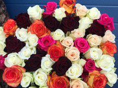 Букеты из разноцветных Роз