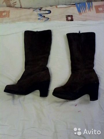 Сапоги женские зимние р.38 коричневые замшевые б/у 89274011531 купить 1