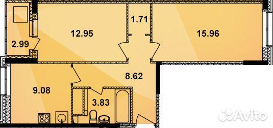 Продается двухкомнатная квартира за 2 703 200 рублей. Кирова улица, 21.
