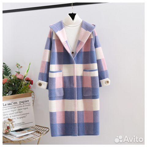 новое стильное бархатное вязаное пальто купить в республике