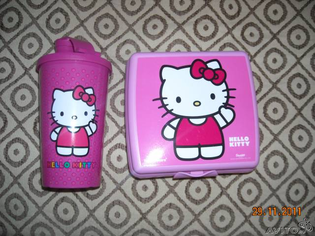 Ланч-бокс Tupperware hello kitty, стакан, сумка