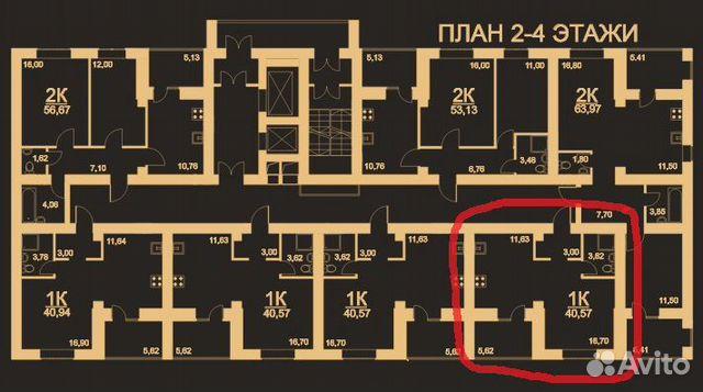 Своб. планировка, 40.6 м², 3/17 эт.  89603506105 купить 5