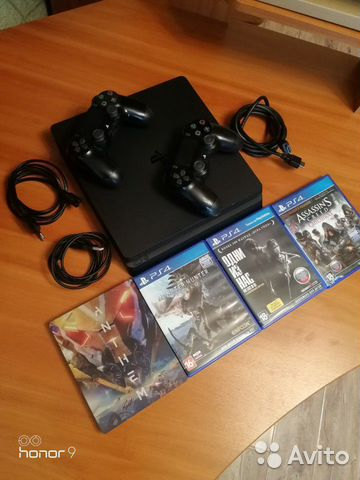 Sony PS4 slim, 2 геймпада, 4 игры  89644720337 купить 3